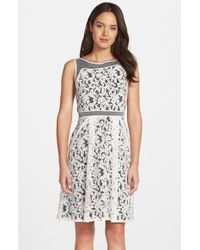 Adrianna Papell Lace Fit & Flare Dress - Lyst