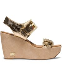 Michael Kors Warren Metallic Snake Pattern-embossed Wedge - Lyst