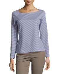 Lafayette 148 New York Striped Boat-Neck Long-Sleeve Tee multicolor - Lyst