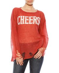 Wildfox Cheers Lennon Long Sleeve Sweater - Lyst