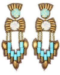 Suzanna Dai Ankara Chandelier Earrings, Turquoise/Gold - Lyst