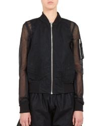 Rick Owens Embroidered Tulle Bomber Jacket - Lyst