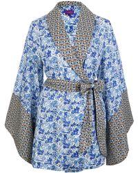 Liberty - Blue Poppy And Honesty And Mauverina Cotton Kimono - Lyst