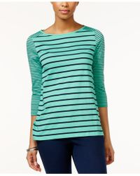 American Living - Striped Boat-neck Top - Lyst