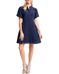 Cynthia Steffe Ellie Shirtdress W/ Puffed Sleeves blue - Lyst