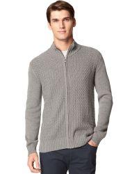 Calvin Klein Full-zip Mock-neck Sweater - Lyst