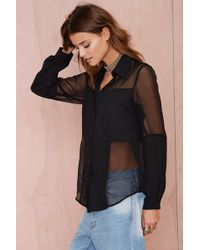 Nasty Gal Close To You Button Up Blouse - Lyst