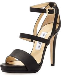 Jimmy Choo Discus Leather Triple-band Sandal - Lyst