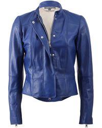 Alexander McQueen Nubuck Suede Biker Jacket blue - Lyst
