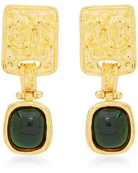 What Goes Around Comes Around Chanel Green Gripoix Danglee Earrings - Lyst