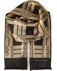 Alexander McQueen Striped Panel Scarf - Lyst