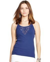 Polo Ralph Lauren Lace-Trim Racerback Tank Top - Lyst