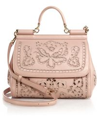Dolce & Gabbana Sicily Medium Embroidered Top-Handle Satchel - Lyst