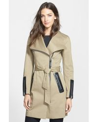Mackage Leather Trim Asymmetrical Zip Long Trench Coat - Lyst