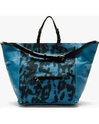 Jérôme Dreyfuss Blue Canvas Malachite Medium Jacques Tote - Lyst