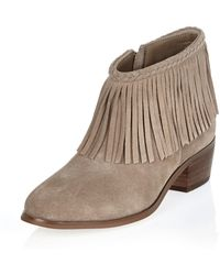River Island | Beige Fringed Ankle Boots | Lyst