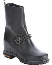 Fendi Black Leather Spike Accent Biker Boots - Lyst