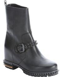 Fendi Black Leather Spike Accent Biker Boots - Lyst