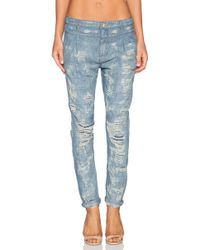 Free People Rugged Tapered Destroyed Boyfriend - Lyst