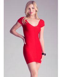 Bebe Textured Bodycon Dress - Lyst