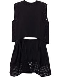 3.1 Phillip Lim Silkcrepe Laser Cut Dress - Lyst