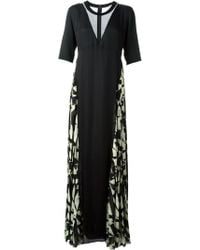 Costume National Printed Panel Long Dress - Lyst