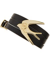 McQ - Golden Swallow Leather Wrap Bracelet - Lyst