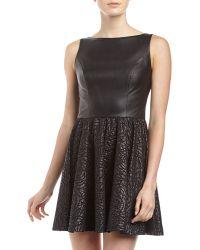 Alexia Admor Fauxleather Rosette Flareskirt Dress - Lyst