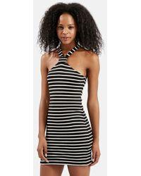 Topshop Notch Neck Stripe Dress black - Lyst