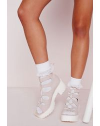 Missguided - 3 Pack Ankle Socks Lace White - Lyst