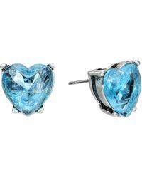 Betsey Johnson Lady Lock Crackle Heart Stud Earrings - Lyst