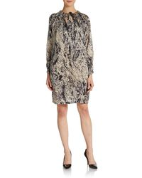Halston Heritage Silk Splatter-print Dress - Lyst