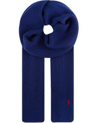 Ralph Lauren Ribbed Merino Wool Scarf Deep Royal - Lyst