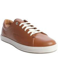 Ferragamo Brown Leather Layered Sneakers - Lyst
