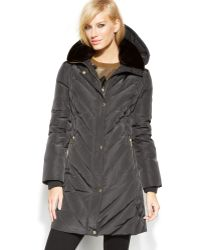 Michael Kors Michael Fauxfur Hooded Quilted Down Puffer Coat - Lyst