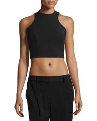 T By Alexander Wang Sleeveless Cropped Top - Lyst