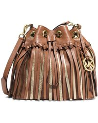 MICHAEL Michael Kors Christy Medium Metallic Fringed Drawstring Messenger Bag brown - Lyst