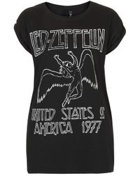 Topshop Womens Led Zeppelin Tee by and Finally  Black - Lyst