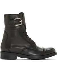 Diesel Black Leather Bartack Ankle Boots - Lyst