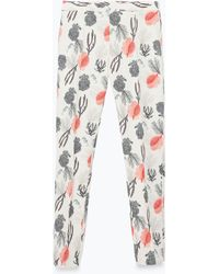 Zara Printed Trousers - Lyst
