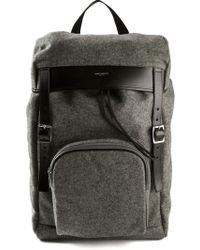 Saint Laurent Gray Buckled Backpack - Lyst