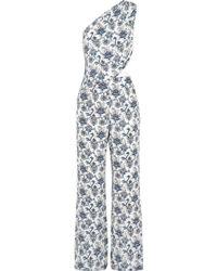 Tamara Mellon - One-shoulder Printed Silk-crepe Jumpsuit - Lyst