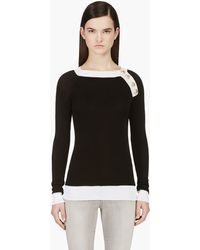 Balmain Black and White Shoulder Placket Sweater - Lyst