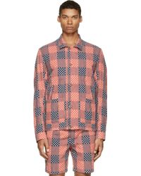 Paul Smith Blue And Red Hashtag Patchwork Rider Jacket - Lyst