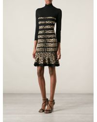 Roberto Cavalli Striped Leopard Print Dress - Lyst