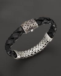 John Hardy Mens Classic Chain Extra Large Oxidized Sterling Silver Station and Braided Black Leather Bracelet - Lyst