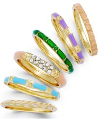 City By City | Gold-Tone Multicolor Stackable Ring Set | Lyst