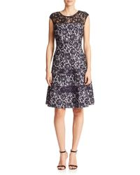 Kay Unger Bonded Lace Dress - Lyst
