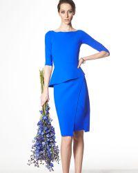 La Petite Robe Di Chiara Boni Saskia 3/4-Sleeve Peplum Dress - Lyst