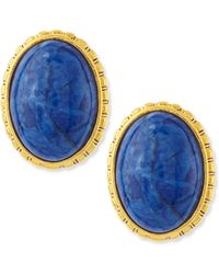 Jose & Maria Barrera Oval Sodalite Button Clip-On Earrings blue - Lyst